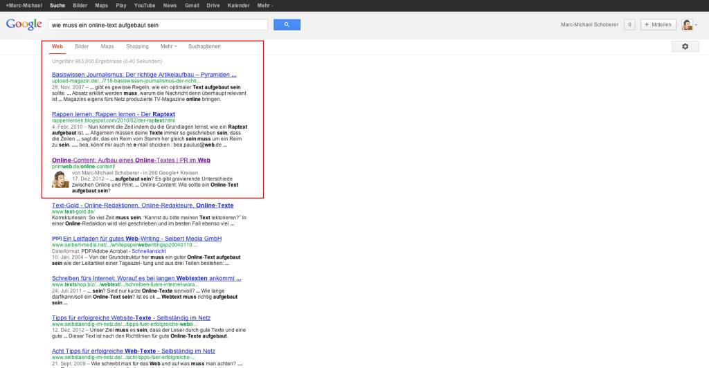 wie muss ein online-text aufgebaut sein - Google-Suche