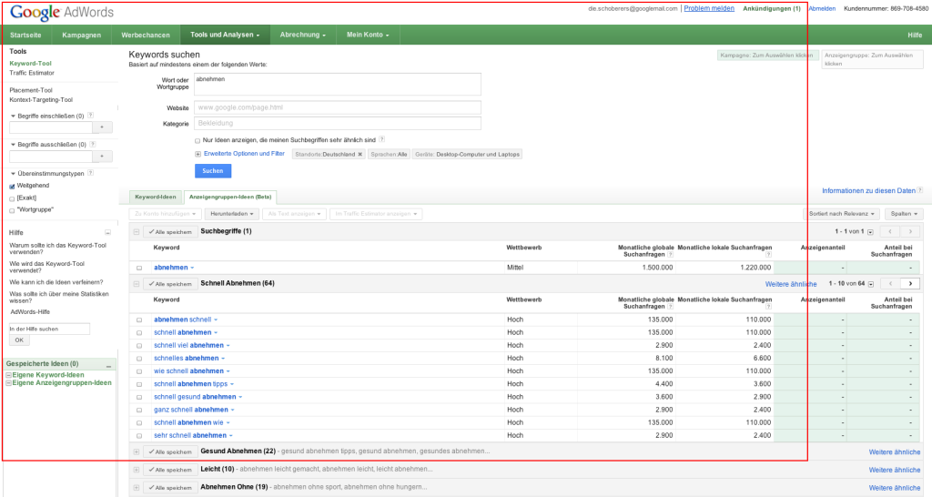 Google AdWords: Keyword-Tool