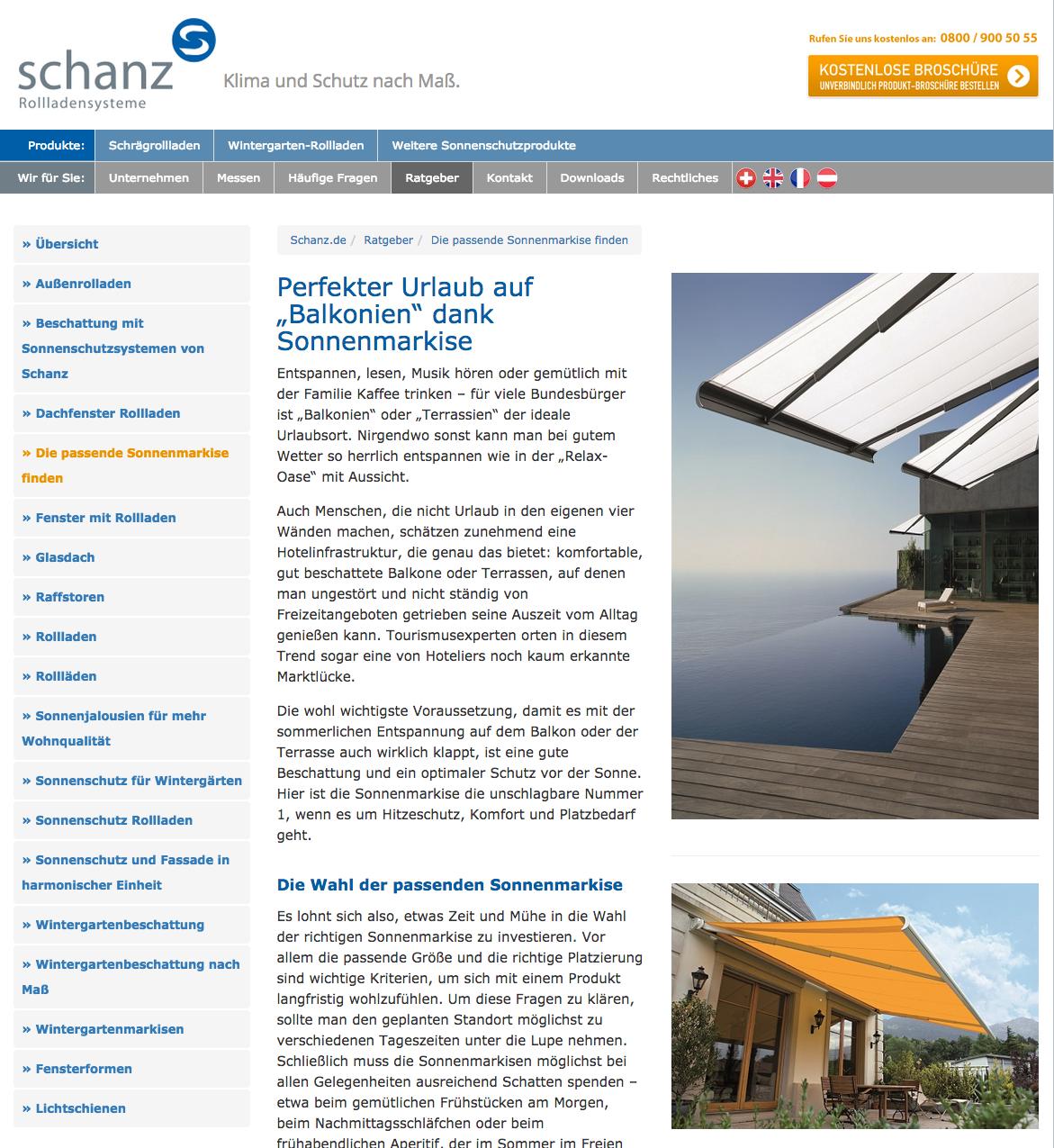 Ratgeberbereich auf der Firmenwebsite von Schanz GmbH