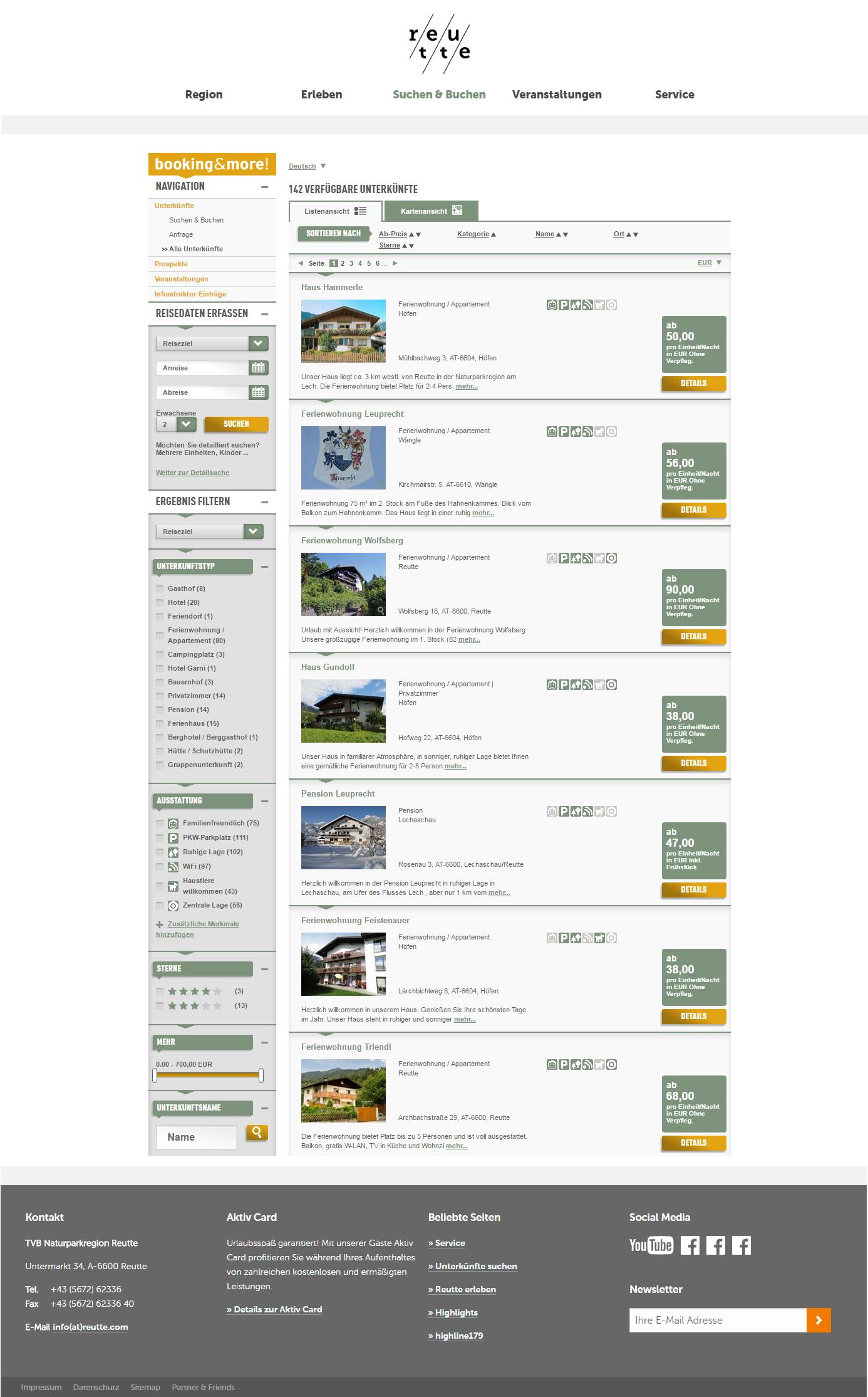 Webdesign für die Naturparkregion Reutte