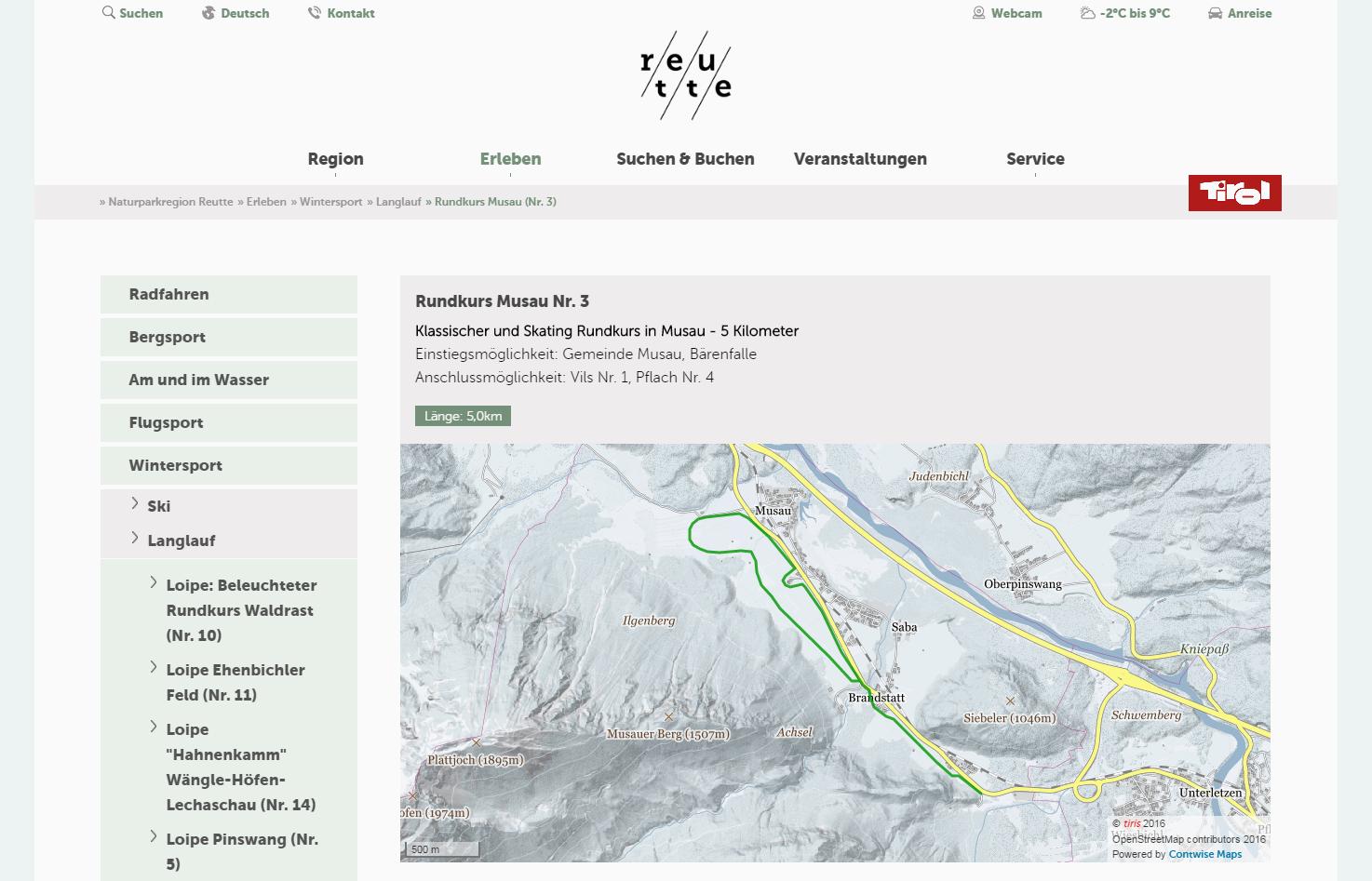Maps Ansicht Website Reutte