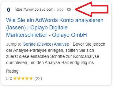 Google Ergebnis mit AMP
